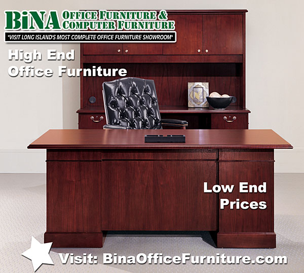 Executive Wood Desk and credenza, hutch, set.